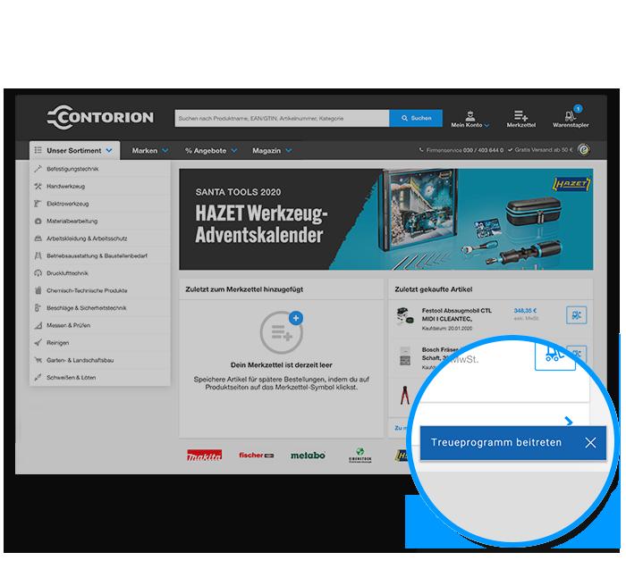 Auf Contorion.de auf Treuprogramm beitreten klicken