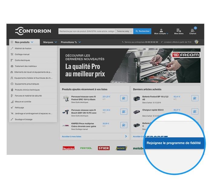 Sur contorion.fr, cliquez sur « S'inscrire au programme de fidélité »