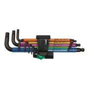 1 Jeu de clés mâles coudées Wera 950/9 Hex-Plus Multicolour, système métrique, BlackLaser, 9 pièces