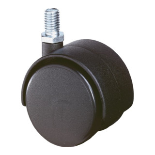 Kunststoffdoppelrolle D.40mm Trgf.30kg m.Gewindestift M10 PA transp.