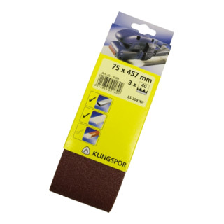 Klingspor Schleifband für Handbandschleifer SB-Verpackt LS 309 XH, LxB 105X620, Korn 80, F5