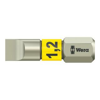 Wera 3800/1 TS Bits für Schlitz-Schrauben, Edelstahl, 6,5 x 1,2 mm, Länge 25 mm