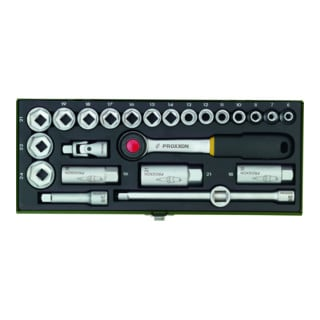 """Proxxon Steckschlüsselsatz CV. 6-24PR, Vierkant, 24-teilig, 3/8 mit Driver-System"""""""