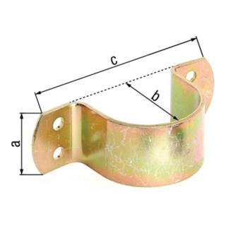 R.schelle L.119mm B.40mm H.44mm STA galv. gelb verz. f. Rohre 44,5mm,1 3/4Zoll