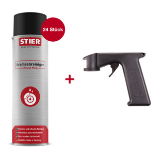 24 x STIER Bremsenreiniger power plus 500ml + STIER Spray-Meister Pistole für Aerosole