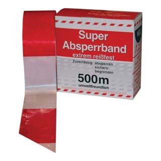 Absperrband L.500 m B.80mm rot/weiß geblockt 500m/Karton