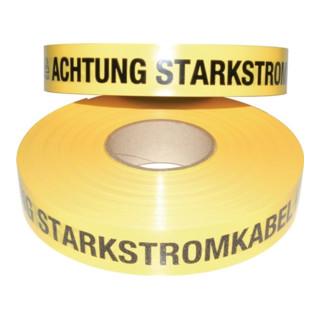 Trassenwarnband L.250 m B.40mm Aufdruck Achtung Starkstromkabel