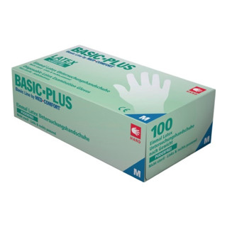 Industrial Quality Supplies Latexhandschuhe Basic-Plus puderfrei 100 Stk. Box transparent