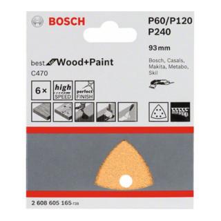 Bosch Schleifblatt C470, 6 Löcher, Klett, 93 mm, 60, 120, 240