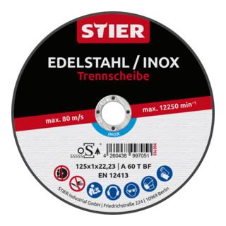 STIER Profi Trennscheibe 125x1x22,23mm gerade Inox/Stahl