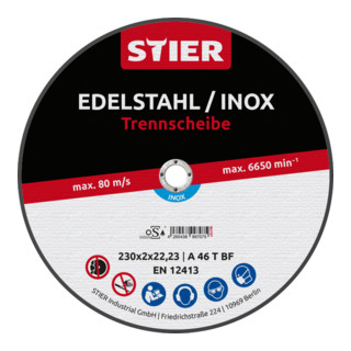 STIER Profi Trennscheibe 230x2,0x22,23mm gerade Inox/Stahl