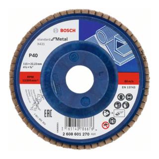 Bosch Fächerschleifscheibe X431 Standard for Metal, gerade, 115 mm, 40, Kunststoff