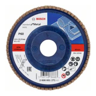 Bosch Fächerschleifscheibe X431 Standard for Metal, gerade, 115 mm, 60, Kunststoff