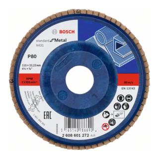 Bosch Fächerschleifscheibe X431 Standard for Metal, gerade, 115 mm, 80, Kunststoff