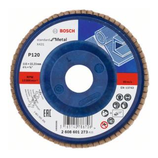 Bosch Fächerschleifscheibe X431 Standard for Metal, gerade, 115 mm, 120, Kunststoff