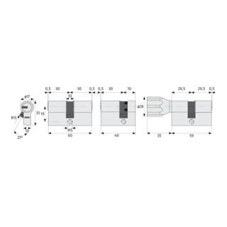 ABUS Türzylinder KD6XNP Z30/K30 B/SB