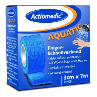 Actiomedic aquatic Schnellverband, blau, 3 cm x 7 m, selbsthaftend