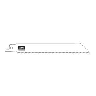 AEG Säbelsägeblatt  150 x 2,5 mm zum Sägen von Holz, Holz mit Nägeln, Gipsbauplatten 3-100 mm, NE-Metall, Aluminium 3-10 mm, Kunststoffrohre, 3 Stück