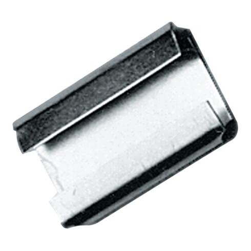 Agrafe de fermeture l.16 mmxL28 mm pour ruban d'emballage en acier de 16 mm