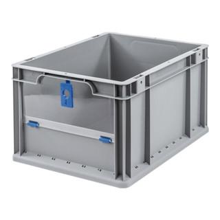 Allit Transportstapelbehälter L400xB300xH220mm grau blau PP m.Klappscheibe