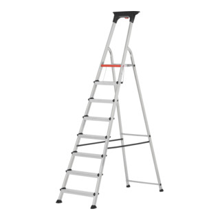 Hymer Alu-Pro Stufenstehleiter mit Doppelstufe einseitig begehbar