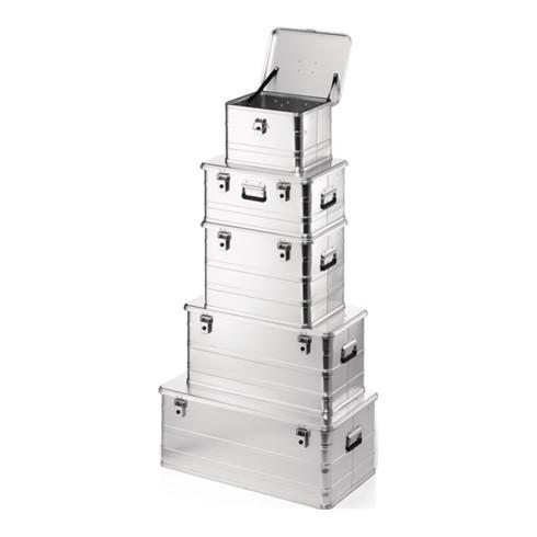 Aluminiumbox L582xB385xH397mm 76l m.Klapphebelverschlüssen m.Bohrungen