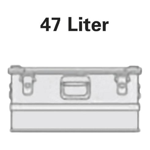 Alutec Aluminiumbox 47l 582x385x277mm m.Gummidichtung 4,5kg m.Stapelecken