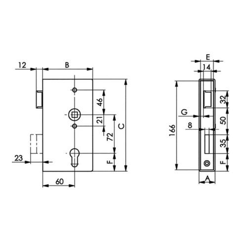 AMF Panikgittertorschloss 140PGN Fkt.D 33/60/72/9mm DIN R VA