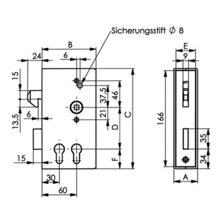 AMF Schiebetor-Schlosskasten 140SD-40PZ DIN L/R Maß A40xB94,5xC173mm Dornm.30/60mm