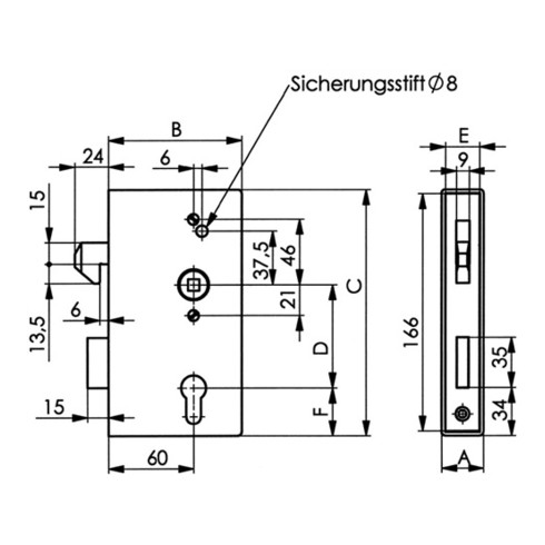 AMF Schiebetür-Schlosskasten 140SNIG V2A DIN L/R Maß A30xB94xC172mm Dornm.60mm