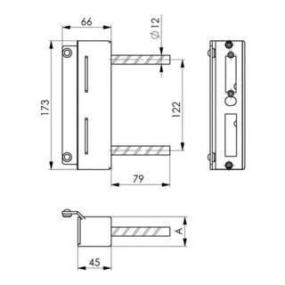 AMF Schließkasten 147-40 für Bohrbefestigung, verzinkt für elektr. Türöffner vorgerichtet