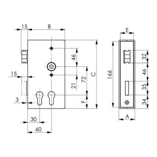 AMF Schlosskasten 140D-PZ DIN L/R Maß A 40 Maß B 94,5 Maß C 173mm AMF