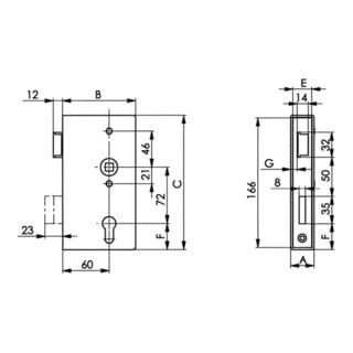 AMF Schlosskasten 140P DIN R Maß A40xB94,5xC173mm Dornm.60mm Entf.72mm