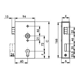AMF Schlosskasten 140UNIG DIN L/R Maß A40xB94xC173mm Dornm.60mm Entf.72mm