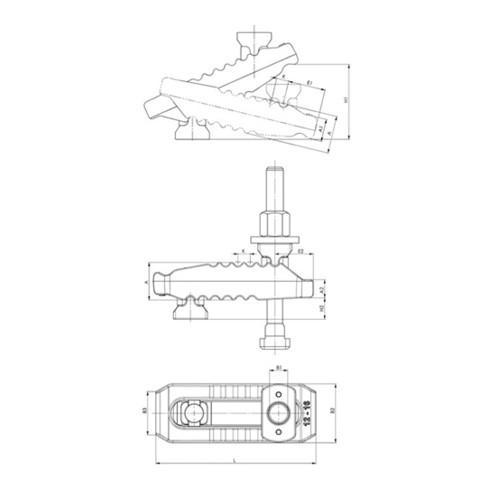 AMF Spannpratze Nr.6312V 10-M10x10x100 Krokodil verstellb. m.Gegenhalter