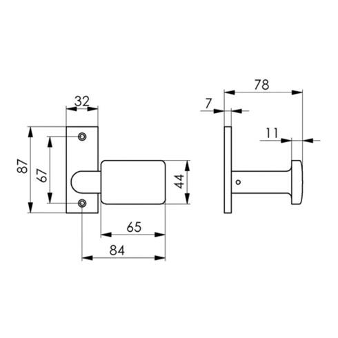 AMF Türknopf 485 Leichmetall F1/naturf.gekr.ktg.B.65mm H.44mm