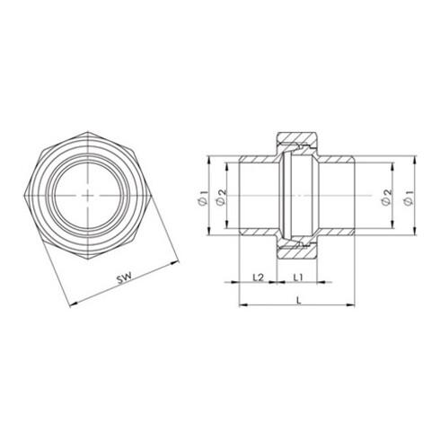 Anschweißverschraubung EN 10226-1 NPS 13,5 Zoll fl.dichtend 30mm 12mm 9mm