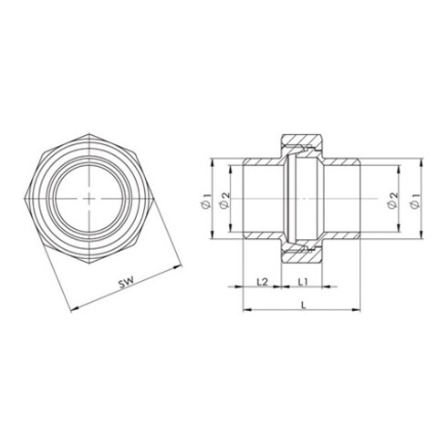 Anschweißverschraubung EN 10226-1 NPS 26,9 Zoll fl.dichtend 40mm 14mm 13mm