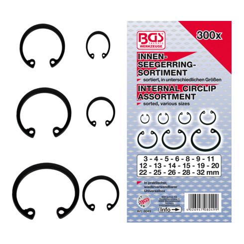 Assortiment de circlips intérieurs Ø 3 - 32 mm 300 pièces BGS