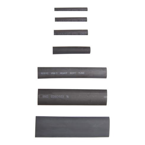 Assortiment de gaines thermo-rétractables noires 127 pièces BGS