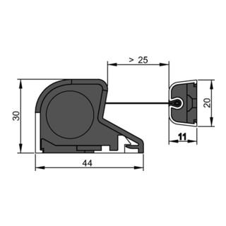 Athmer Fingerschutzprofil NR-30 L.1925mm BG schwarz silberf.