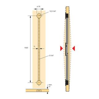 Ausrichtbeschlag 45198 für Türen ab 16mm Stärke und 2600mm Höhe Kunststoff