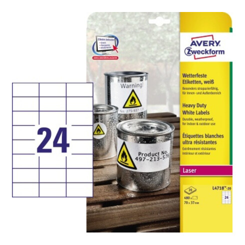 Avery Zweckform Etikett L4718-20 70x37mm ws 480 St./Pack.