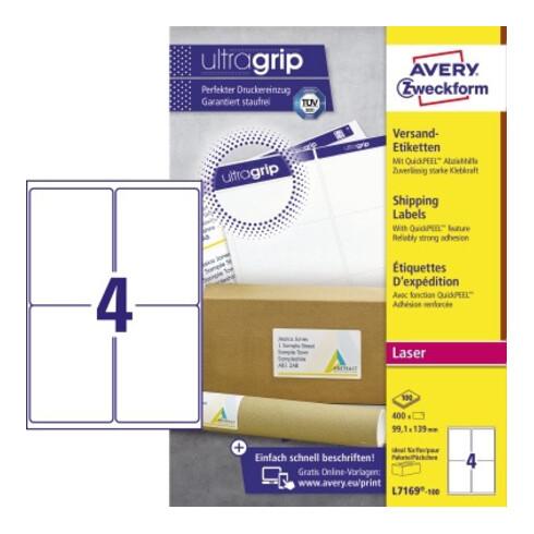 Avery Zweckform Versandetikett QuickPEEL L7169-100 400St./Pack.