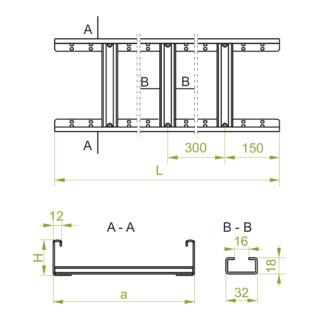 Baks Kabelleiter Blechstärke 1,5 mm Seitenhöhe 60 mm Länge 2 m