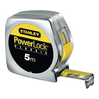 Bandmaß PowerLock Länge 3m extra-starkes Band verchr. Metallgehäuse Stanley