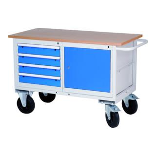 Bedrunka+Hirth Mobile Kastenwerkbank mit Schubladen und einem Schrankgehäuse mit Flügeltür