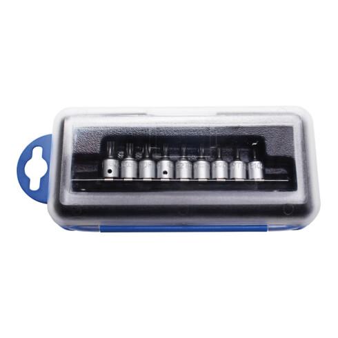 BGS Bit-Einsatz-Satz Antrieb Innenvierkant 6,3 mm (1/4 Zoll) TS-Profil (für Torx Plus) mit Bohrung 9 teilig