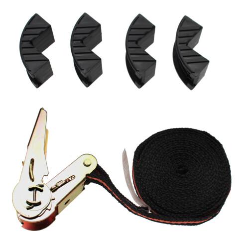 BGS Do it yourself Knarren-Spannband mit 4 Schutzbacken 5 m x 25 mm