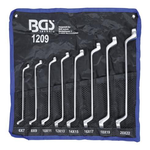 BGS Doppel-Ringschlüssel-Satz 1209 gekröpft SW 6 x 7 - 20 x 22 mm 8 teilig